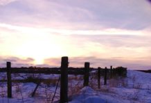 A winter sunset on the south Idaho plains