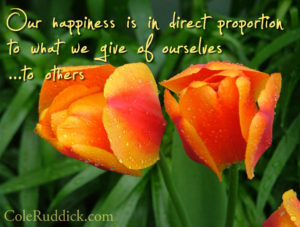 happiness depends on what we give
